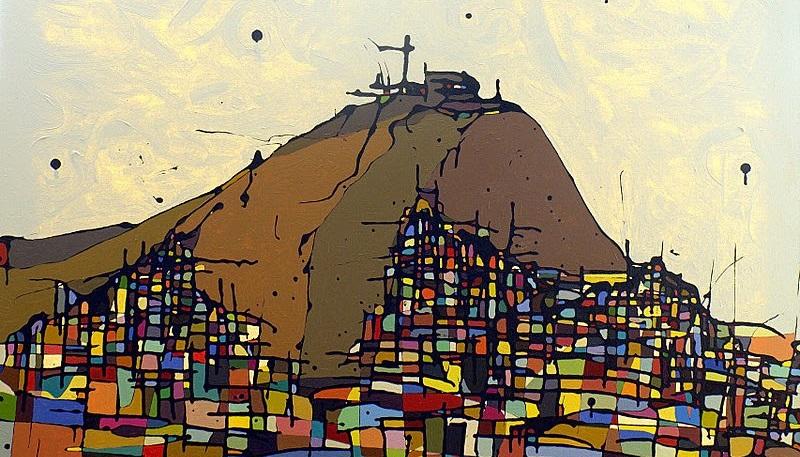 "Detalle del cuadro ""El cerro San Cristóbal"", del artista peruano Julius Sobrino"