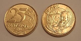 Moeda brasileira de vinte e cinco centavos