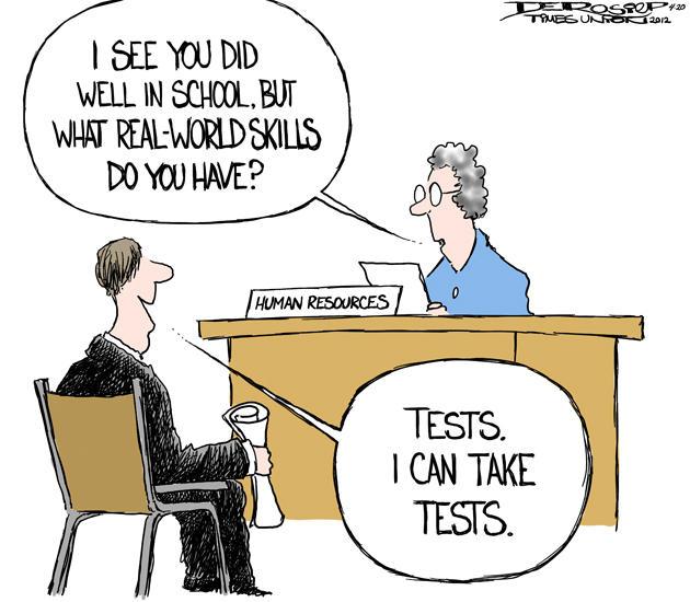John de Rosier cartoon - standardized tests