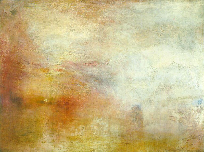 William Turner, sun setting over a lake