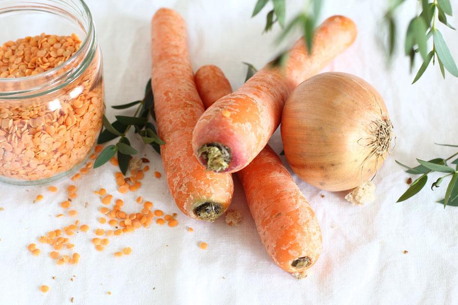Velouté de carottes & lentilles corail