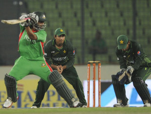 Tamim Iqbal plays a cut, Bangladesh v Pakistan, Asia Cup, Mirpur, March 11, 2012