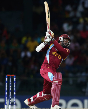 Chris Gayle lofts the ball, Australia v West Indies, 2nd semi-final, World Twenty20 2012, Colombo, October 5, 2012