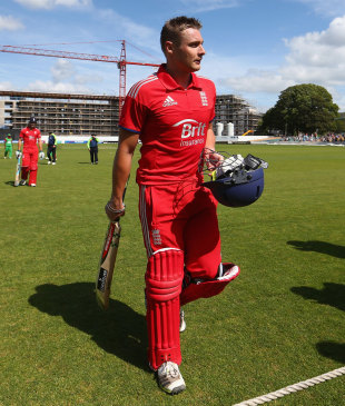 Luke Wright walks back after his 68-ball 143, England Lions v Bangladesh A, 1st unofficial ODI, Bristol, August 20, 2013