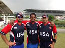 Sushil Nadkarni, Aditya Thyagarajan and Usman Shuja from left to right) on the field together after their final match, Bermuda v USA, Selangor Turf Club, Kuala Lumpur, October 30, 2014