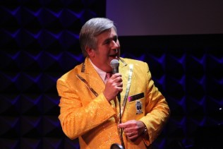 Bob Ley on stage at the Men in Blazers' Night of a 1000 Stars at Joe's Pub, September 2013. (Photo by Greg Groggel)