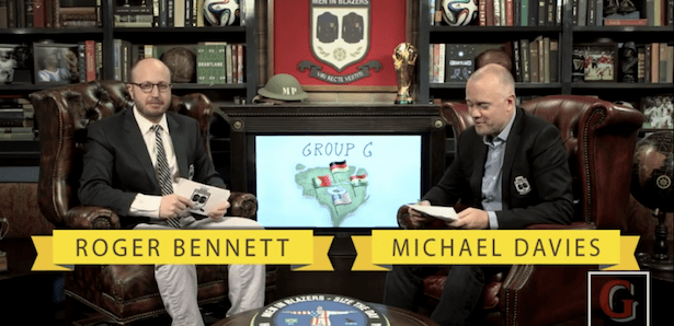 Men in Blazers co-hosts Roger Bennett and Michael Davies.