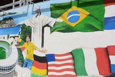 A World Cup mural painted by Brazilian artist Jambeiro. (Mike Soltys / ESPN)