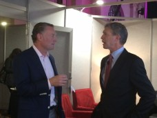 (R) Dan Mead, President & CEO, Verizon Wireless & CTIA Chairman and ESPN EVP Sales and Marketing Sean Bratches chat in the green room before the kickoff CTIA keynote session on mobile video.