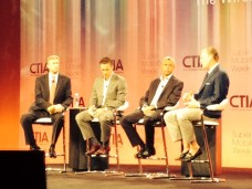 ESPN EVP Sales and Marketing Sean Bratches and three other executives with companies at the forefront of the mobile video ecosystem discuss its importance and growth at CTIA's keynote kickoff session (shown from L-R: Dan Mead, President & CEO, Verizon Wireless & CTIA Chairman, Tim Connolly Head of Distribution & Strategic Partnerships, Hulu, Michel Combes, CEO, Alcatel Lucent and Sean Bratches).