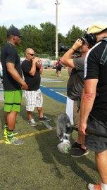 Cam Newton filming for E:60 with producer Martin Khodabakhshian (holding football). (Martin Khodabakhshian/ESPN)