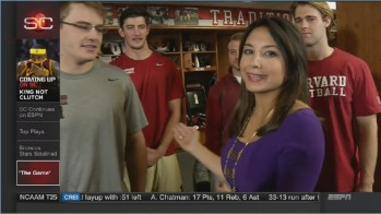 Boston-based reporter Michele Steele was reporting for SportsCenter at Harvard before Saturday's game. (ESPN)