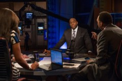 Stephen A. Smith (R) interviews Magic Johnson on the First Take set. (Rich Arden/ESPN Images)