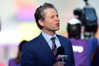 2015: Jeremy Schaap reports during the closing Ceremony for the 2015 Special Olympics World Summer Games (Phil Ellsworth / ESPN Images)