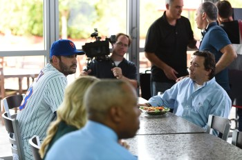 "Matt Harvey, Lisa Kearney and Jay Harris filming ""Ice Cream"" in the ESPN Cafe. (Joe Faraoni/ESPN Images)"