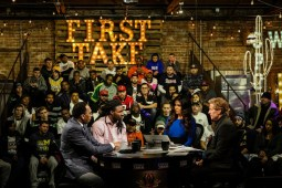 First Take welcomes an audience for its remote shows in Phoenix during ESPN's 2016 CFP National Championship coverage. (Michael D. Ratcliff/ESPN Images)