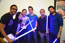 """Adriana Gascoigne, Founder and CEO of Girls in Tech (third from left), and the team that developed the """"Nubee"""" app, the hackathon's grand prize winner: (L-R) Devin Smith, designer and pitcher; Lily Ngo, UX designer and pitcher; Gascoigne of Girls In Tech; Lucas Farah, Backend/iOS; Hoang Do (also known as Troy) , iOS/Algorithm; and Demir berkay yilmaz: iOS/Animations. (Alexander Mendioro/Girls in Tech)"""