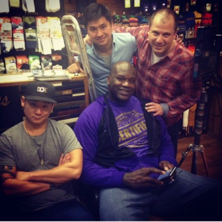Clockwise from top: Film writer, producer Pablo S. Torre; Brett Teilhaber of Friedman's Shoes; former NBA star Shaquille O'Neal; film director Danny Lee. (Pablo S. Torre Instagram)