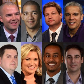 ESPN NBA Insiders contributing to The Jump include: (Top, L-R) Tom Haberstroh, J.A. Adande, Marc Stein and Israel Gutierrez; (Bottom, L-R) Brian Windhorst, Ramona Shelburne, Amin Elhassan and Zach Lowe.