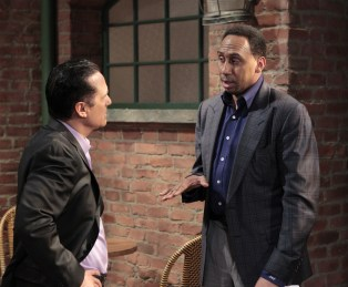 """ESPN's Stephen A. Smith (right), sharing a scene with Maurice Benard, will make a cameo appearance on the Thursday, March 31, 2016 episode of ABC's """"General Hospital."""" The Emmy-winning daytime drama """"General Hospital"""" airs Monday-Friday (3:00 p.m. - 4:00 p.m., ET) on the ABC Television Network. (Rick Rowell/ABC)"""