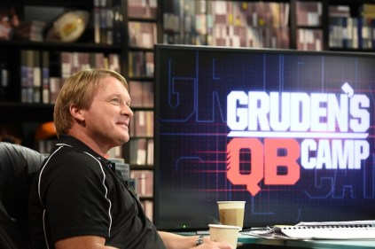 """In the next five weeks, """"Monday Night Football """" analyst and Super Bowl champion coach Jon Gruden will welcome seven quarterbacks to ESPN's Wide World of Sports Complex in Orlando where he'll spend time with each prospect in the film room and on the field. (Scott Clarke/ESPN Images)"""