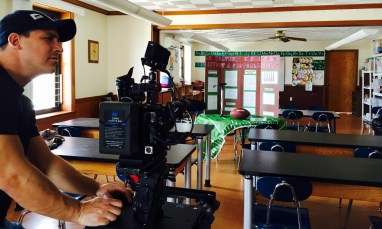 """Cinematographer Aaron Frutman shoots Ben Goodell's """"Deflategate"""" project at St. Pius's science lab. (E:60)"""