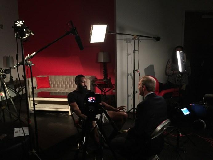 Correspondent Tom Rinaldi (right) interviews Houston Rockets star James Harden for E:60. (Martin Khodabakhshian/ESPN)