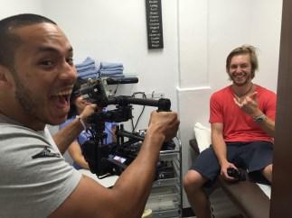 Carlos Correa (L) turns the tables on photographer Logan Cascia. (Max Brodsky/ESPN)