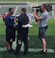 Quint Kessenich interviews Ray Rice during the NFLPA Bowl. (Photo courtesy of Quint Kessenich)