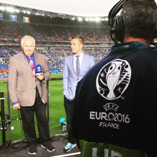 Reporting from the sidelines at Euro 2016. (Courtesy Taylor Twellman)