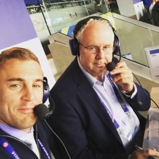 Twellman (left) with Ian Darke during Euro 2016. (Courtesy Taylor Twellman)