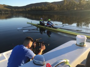 Former ESPN employee Meghan O'Leary, rowing here with teammate Ellen Tomek, is the focus of a SportsCenter feature about her unlikely path to the Rio Olympic Games. (Rachel Pearson/ESPN)
