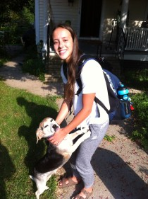Jessica Parratto, seen here with Betty the Beagle, is the daughter of former All-America diver Amy Parratto - sister of ESPN's Andrew Ayres. (Photo courtesy of Andrew Ayres)