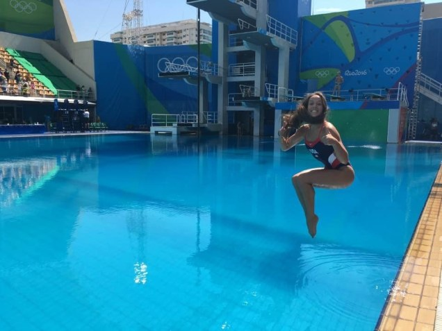 Jessica Parratto celebrates the return of blue water to the Olympic facility in Rio. (Photo courtesy of Amy Parratto)