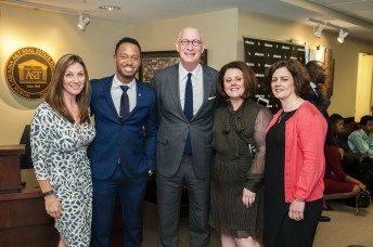 (L-R) Lisa Stokes, ESPN director of talent production; actor Terrence J., a North Carolina A&T grad; ESPN President John Skipper; Senior VP Events & Studio Production, Stephanie Druley; and Executive VP, Global Business and Content Strategy, Marie Donoghue. (Jonathan Strayhorn)