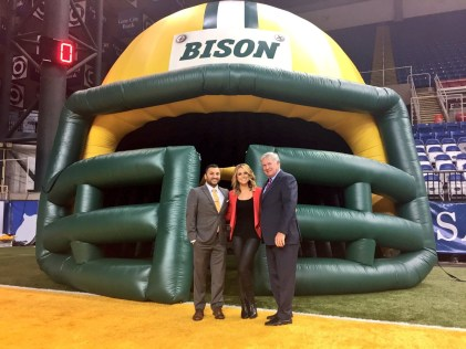 McGrath worked on her first ESPN football game in August at North Dakota State with Adam Amin (left) and Mack Brown. (Photo courtesy Molly McGrath)