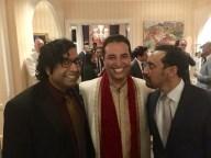 Negandhi is flanked by comedians Hari Kondabolu (L) and Aasif Mandvi (R). (Photo courtesy of Kevin Negandhi)