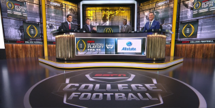 (L-R) David Pollack, Rece Davis, Joey Galloway and Danny Kanell discuss the College Football Playoff Top 25 rankings after they are revealed.