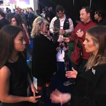 ESPN Ambassador-Autumn-Johnson (L) gets career advice from ESPN host and reporter Samantha Ponder. (Keri Potts/ESPN)