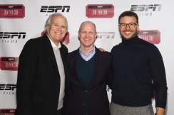 """(L-R) Television executive Dick Ebersol, VP and EP, ESPN Films and Original Content, John Dahl and director Charlie Ebersol attend the screening for the 30 for 30: """"This Was The XFL."""" (Lorenzo Bevilaqua/ESPN Images)"""