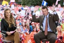 Samantha Ponder interviews Clemson coach Dabo Swinney. (Allen Kee/ESPN Images)