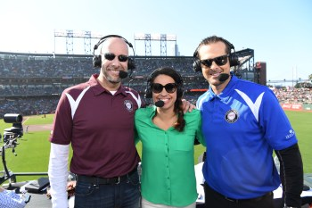 """(L-R) Dan Shulman, Jessica Mendoza and Aaron Boone welcome the prospect of the """"MLB Little League Classic."""" (Scott Clarke/ESPN Images)"""