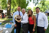 Kirk Herbstreit, Lee Corso, Rece Davis and Sam Ponder take a break during the 2016 Chevy College GameDay Campaign. (Joe Faraoni/ESPN Images)