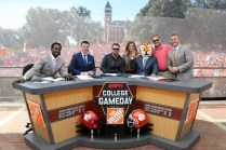 (L-R) Desmond Howard, Rece Davis, Eric Church, Samantha Ponder, Lee Fitting, Lee Corso and Kirk Herbstreit on the set of College GameDay. (Allen Kee/ESPN Images)