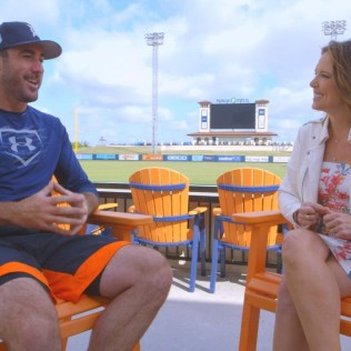 """Justin Verlander of the Detroit Tigers speaks with Hannah Storm during their """"Face to Face"""" interview (Steve Buckheit/ESPN)"""