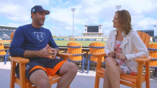 "Justin Verlander of the Detroit Tigers speaks with Hannah Storm during their ""Face to Face"" interview (Steve Buckheit/ESPN)"