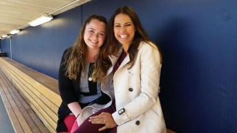 Kelley Carey (L) and Jessica Mendoza are pictured in Dunkin Donuts Park in Hartford, Conn. (Kelly Carey/ESPN)