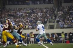 In 2011, Tony Romo (9) plays in an ESPN MNF game against Washington. (Scott Clarke ESPN Images)