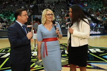 Dave O'Brien, Doris Burke and Kara Lawson at the 2017 NCAA Women's Final Four Championship Game. (Allen Kee/ESPN Images)
