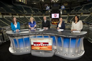 (L to R): Rebecca Lobo, Doris Burke, Trey Wingo, Kara Lawson and Carolyn Peck at the 2011 NCAA Women's College Basketball Championship at the Conseco Fieldhouse Arena. (Phil Ellsworth/ESPN)